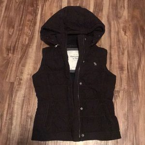 Brown Abercrombie and Fitch puffer vest